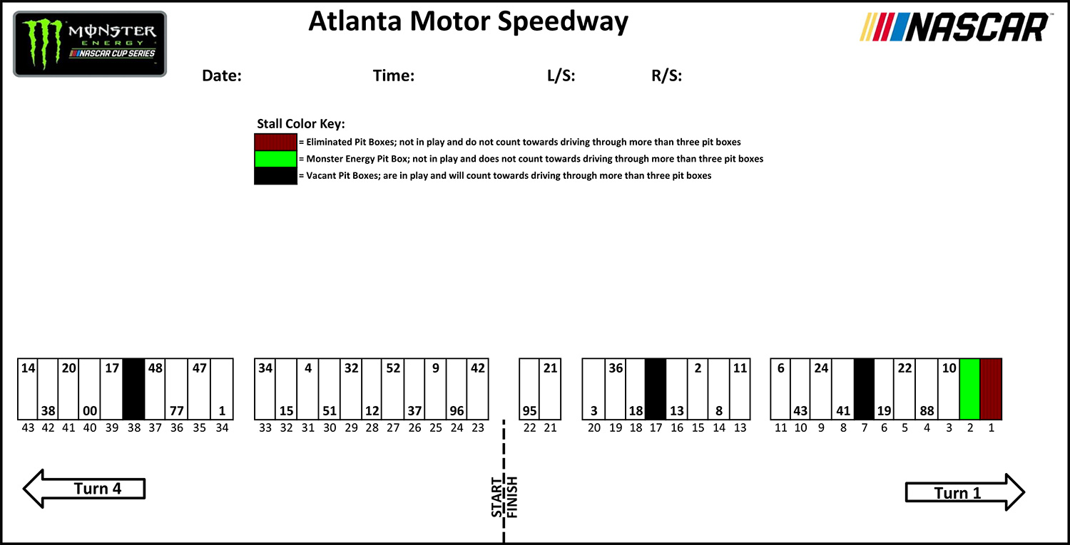 Atlanta Pit Stall Assignments