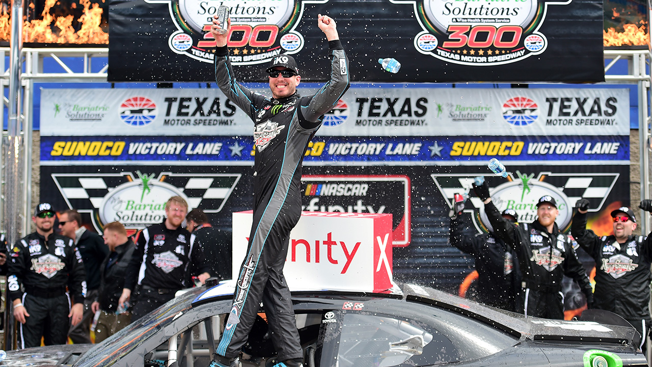 kyle busch surges late to claim xfinity series win at